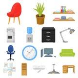 Interior dos ícones dos desenhos animados do local de trabalho na coleção do grupo para o projeto Web do estoque do símbolo do ve Fotografia de Stock