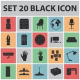 Interior dos ícones do preto do local de trabalho na coleção do grupo para o projeto Web do estoque do símbolo do vetor do mobili Imagens de Stock