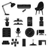 Interior dos ícones do preto do local de trabalho na coleção do grupo para o projeto Web do estoque do símbolo do vetor do mobili Imagens de Stock Royalty Free