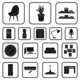 Interior dos ícones do preto do local de trabalho na coleção do grupo para o projeto Web do estoque do símbolo do vetor do mobili Fotos de Stock