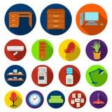 Interior dos ícones lisos do local de trabalho na coleção do grupo para o projeto Ilustração da Web do estoque do símbolo do veto Fotos de Stock