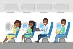 Interior dos aviões com os passageiros novos felizes para dentro ilustração do vetor
