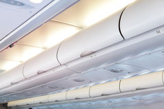 Interior dos aviões comerciais Imagens de Stock