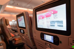 Interior dos aviões de Airbus A380 dos emirados Foto de Stock