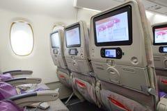 Interior dos aviões de Airbus A380 dos emirados Fotografia de Stock Royalty Free