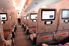Interior dos aviões de Airbus A380 dos emirados Foto de Stock Royalty Free