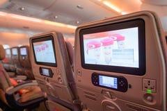 Interior dos aviões de Airbus A380 dos emirados Fotos de Stock Royalty Free