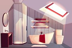Interior dos desenhos animados do vetor do banheiro no sótão ilustração do vetor