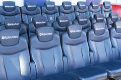 Interior dos suportes do estádio e dos espaços internos Camp Nou em Barcelona na Espanha Fotos de Stock Royalty Free