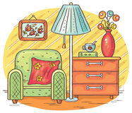 Interior drawing with an arm-chair, lamp and chest of drawers. Vector vector illustration