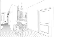 Interior drawing. Line drawing of the interior on a white background Stock Images