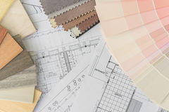 Interior drawing with  material color scheme Stock Images