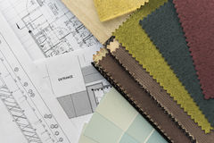 Interior drawing with  material color scheme Stock Photos