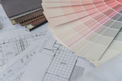 Interior drawing with  material color scheme Royalty Free Stock Photography