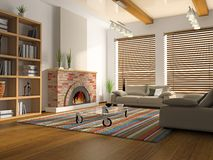 Interior of drawing-room. With fireplace 3D rendering Stock Photography