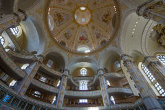 Interior of the Dresden Frauenkirche (Church of Our Lady). Royalty Free Stock Photos