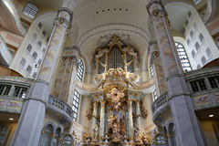 Interior of the Dresden Frauenkirche ( literally Church of Our Lady) is a Lutheran church in Dresden Royalty Free Stock Photography