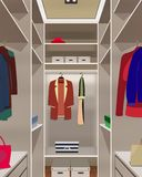 Interior dressing room. Boxes, clothes bags and hat. Interior dressing room. Illustration wardrobe stock illustration
