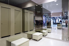 Interior of dressing room at cloth store Royalty Free Stock Photo