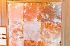 Interior dry Himalayan salt sauna wall. royalty free stock photo