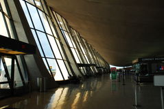 Interior of Dulles Airport Main Terminal. The Main Terminal Building at Dulles International Airport, serving Washington DC, was designed by noted architect Eero Stock Photography