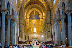 Interior of Duomo di Monreale, Sicily, Italy Stock Images