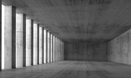 Interior e muros de cimento e colunas vazios, 3d Imagens de Stock