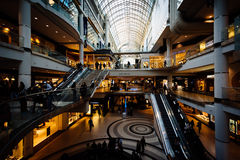 The interior of the Eaton Centre, in downtown Toronto, Ontario. Stock Photos