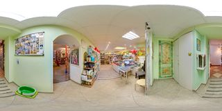 Interior of eco-store with food and fridges. 3D spherical panorama with 360 degree viewing angle. Ready for virtual reality in vr. royalty free stock images