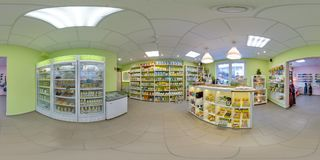 Interior of eco-store with food and fridges. 3D spherical panorama with 360 degree viewing angle. Ready for virtual reality in vr. stock images