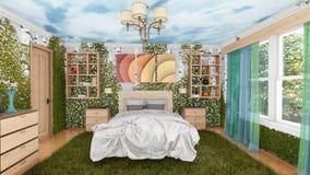 Interior ecológico del dormitorio con las plantas verdes libre illustration