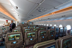 Interior of an economy class of the world's largest aircraft Airbus A380. Stock Photos