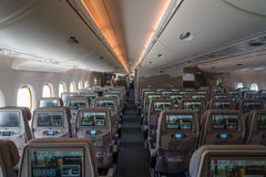 Interior of an economy class of the world's largest aircraft Airbus A380. Royalty Free Stock Photo