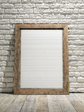 Interior eith frame poster background, white brick wall Stock Photography