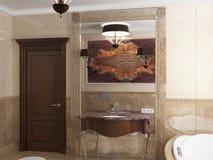 Interior el cuarto de baño en estilo clásico Imagen de archivo libre de regalías