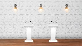 Interior Of Elections Debate Auditorium Vector. Modern Design Auditorium White Rostrums With Microphones On Wooden Floor And Lighting Sconces On Brick Wall stock illustration