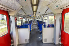 Interior of the electric multiple unit of Frankfurt am Main S-Bahn system. Stock Photo