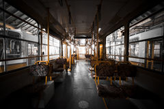 The interior of an electric yellow seats Royalty Free Stock Image