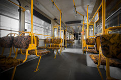 Interior of an electric yellow seats Royalty Free Stock Photos