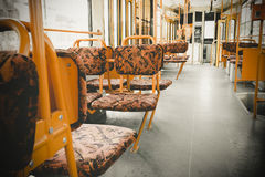 The interior of an electric yellow seats Stock Photos