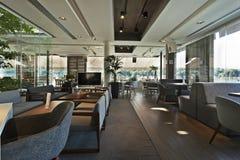 Interior of an elegant riverside cafe stock images