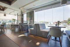 Interior of an elegant riverside cafe Royalty Free Stock Image