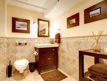 Interior elegante clásico del cuarto de baño casero. foto de archivo