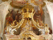 Interior elegante de Wilten Abbey Basilica en Innsbruck Fotografía de archivo libre de regalías