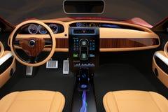 Interior elegante del coche eléctrico con la decoración de madera de lujo del modelo Foto de archivo