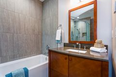 Interior elegante del cuarto de baño con el gabinete de madera de la vanidad fotografía de archivo