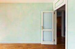 Room with door open. Interior, empty apartment in style classic, room with door open royalty free stock photo