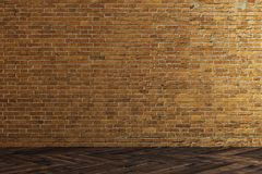 Empty brick wall. Interior with empty brick wall. Gallery concept. Mock up, 3D Rendering Stock Images
