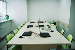 interior of empty classroom with laptops on desk at stem Royalty Free Stock Images