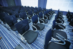 Interior of empty conference hall. With Plastic chairs , close-up Stock Photo
